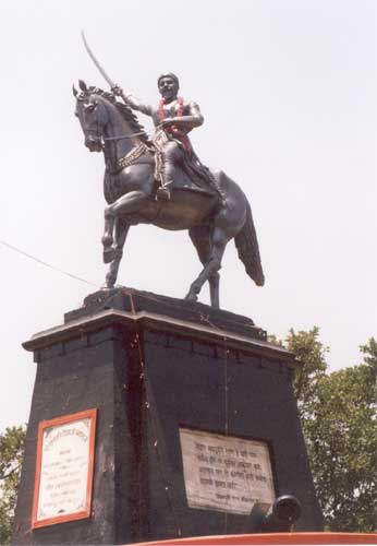 A statue of Chhatrapati Shivaji Maharaj on top of the fort. It was installed in the 1950 s by India Prime Minister Pandit Nehru.