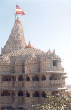 A closer view of the temple.Note the pillers supporting