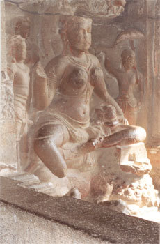 This sculpture shows Siddhaika, Goddess of Generosity seated on a lion.