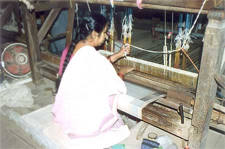 "Handloom weaving in Ahilya Fort is organized by Rehwa Society who have 110 looms in Maheswar. ""Handloom weaving has an ancient history dating back to some 1500 years. This tradition owes its resurgence to Maharani Ahilyabai Holkar, who ruled Maheswar, Indore State from 1765 to 1795 and under whose patronage the weavers prospered. They were also supported by other wealthy local families who promoted the fine textiles by gifting these to people throughout India."