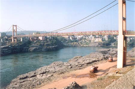 A view of the new bridge. As you see it is supported by columns on either side of the river.
