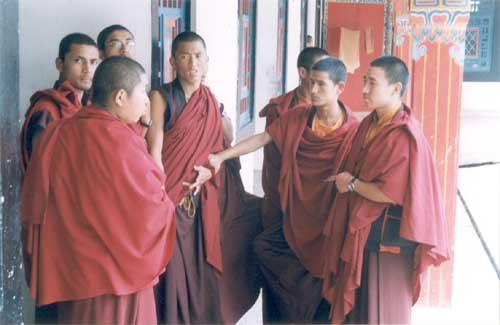 Undisturbed by prying shutterbugs, teenaged monks discuss the spiritual and temporal at Rumtek monastery.