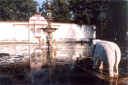 On the rear side is a pond with fountain in the center It has elephants on four sides and the cute thing is that you have water coming out of elephant's tusks, see picture carefully. Behind the elephant is a sitting place in marble where the Ranis sat dow