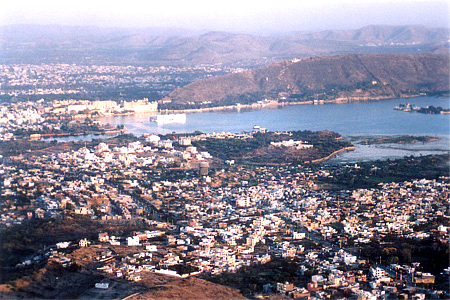 You see Lake Pichola. White structure in the water is Lake Palace hotel with City Palace behind it. On right the island that you see is Jag Mandir.