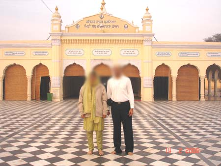 Devotees from India outside the Nankana Sahib.