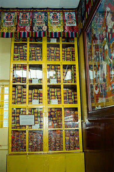 Another cupboard has a collection of texts called Tangyur, translation of the commentaries of Buddha by late Indian Masters. The 225 volumes translated mostly from Sanskrit, contains work on Buddhist philosophy, grammar, logic, poetry, art, astronomy, medicine etc.