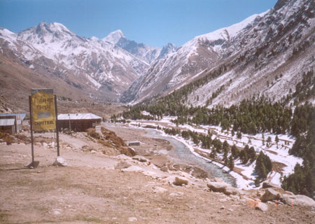 The Baspa comes from Tibet beyond the mountains and flows along Chhitkul.