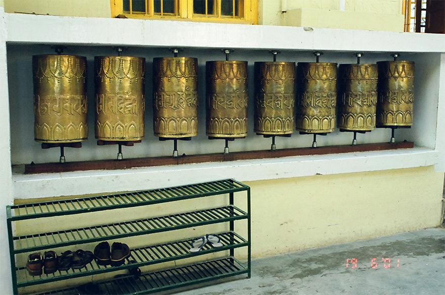 "This is a Mana Prayer Wheel. It is filled with thousands of Avalokiteshwara mantras "" Om Mani Padme Hum"" . By turning this wheel once one earns merit equal to the reciting of the mantras filled inside the wheel to be turned clockwise. May all beings find Peace and Happiness."