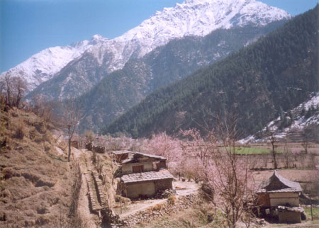 Picture post card houses with slate roofs nestled in the magnificent crucible formed by the Himalayas.