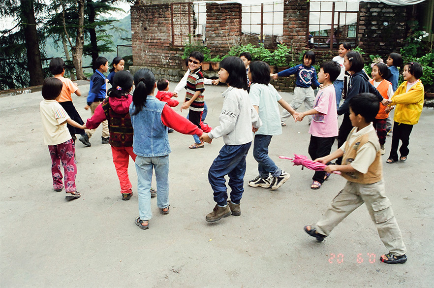 Tibetan children at play inside a school.
