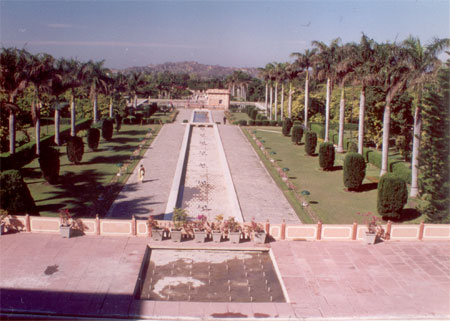 A view of the gardens. They are made in Rajasthani Mughal style.