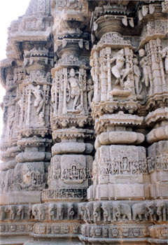 A closer view of the carvings on the temple