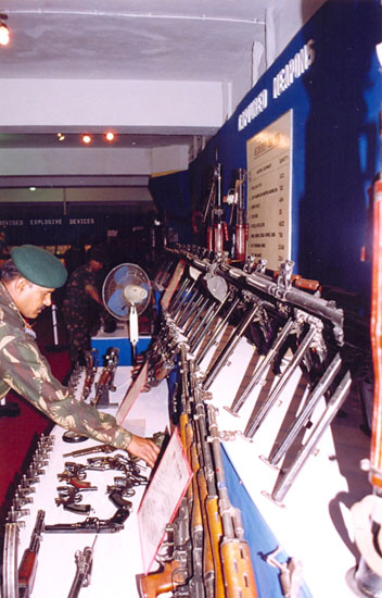 You see Communication Equipment seized from militants. When will India learn to take a tough stand against terrorism? If the media hype on Sanjay Dutt's arrest post conviction by the TADA court is anything to go by, we have a long way to go.