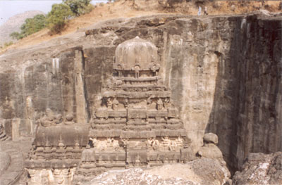 A closer look of the kalash (dome like structure) from the south side, note the rock behind.