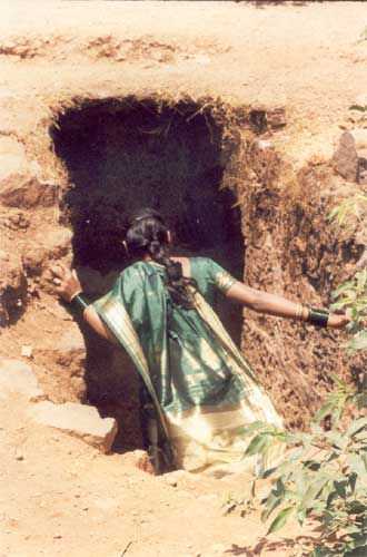If the Marathas lost even gate two they would exit through a small underground tunnel from the fort. You can see this women entering the tunnel trying to figure it out for herself.