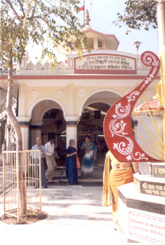 Entrance to the Bala Hanuman Mandir where since 1/8/1964 has been sung non-stop Shree Ram Jai Ram Jai Jai Ram. The temple was founded by Prem Bhikshuji Maharaj.