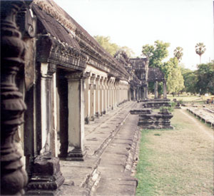 East gallery, Angkor Wat. Note the distinctive Khmer style of window design.