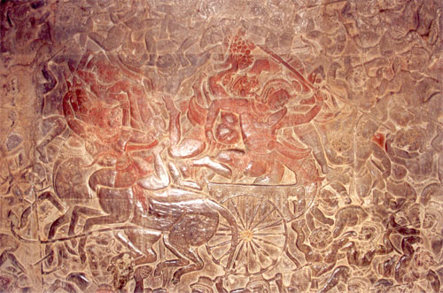 Bas Relief from the Ramayana called Reamker in the Cambodian version. It is believed that the local composition took place between 200 BC and 200 AD.