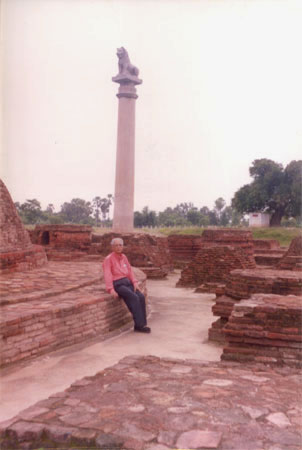 A closer view of the Asoka pillar. You see Sherena s father in the picture. It is thanks to her that you are seeing these pictures.
