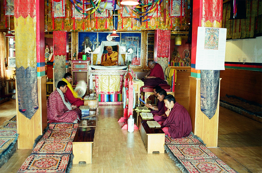 Inside the Monastery with picture of Dalai Lama in the center.