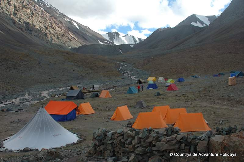 A view of the base camp at sunset. After sunset there is a quick and sudden drop in temperature.