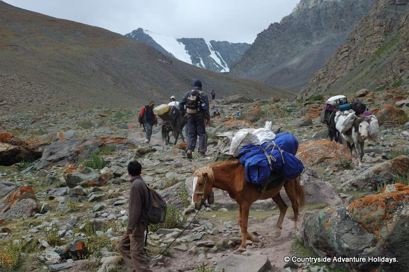 U see us trekking. We used ponies to carry all the camping equipment / food. They serve Indian and Continental food. There was a kitchen staff of 2 for our group of 6 and a camping staff of 2.
