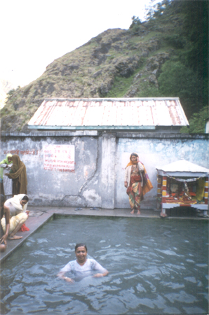 Here is an Indian lady bathing in the hot water spring at Gangnani, enroute to Gangotri.