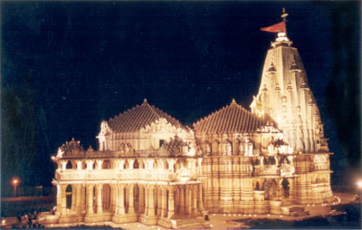 The Somnath Temple lit up at night.
