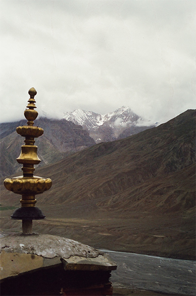 Clicked from atop the monastery, see snow clad hills in the background and a dried up Spiti river below.