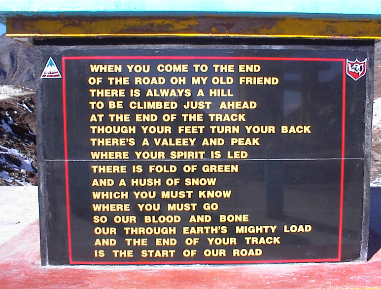 Memorial Stone at Sela Pass.