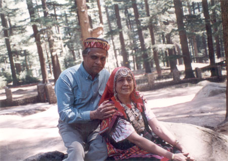Amidst pine trees outside the temple and dressed in Himachali clothes you see Shri & Smt Reshamwala. While he sported a typical Pahadi topi, she wore local clothes. It is because of them that you get to see these pictures.