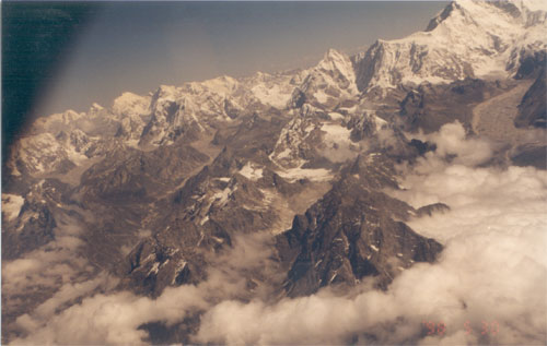 A view of the snow clad mountains