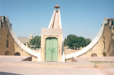 "Large sundial closed for public. ""Over 30 metres in height, the big sundial is the most impressive and the biggest device. The ramp that forms the indicator is orientated to the north. It`s gradient of 27 degrees is equivalent to the latitude of Jaipur. T"