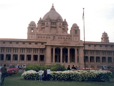 Umaid Bhavan Palace Hotel built by the Maharaja of Jodhpur in the 1940s to provide employment to famine hit local people