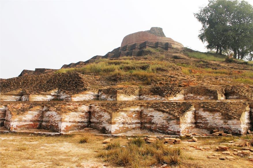 The ancient stupa in Kesariya village, 53 kms from Vaishali. It is only partly excavated and a lot of archaeological works remains to be done.