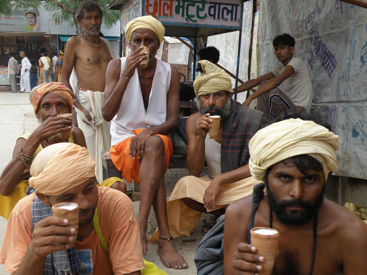 Sadhus outside the temple. When I requested for a group picture they asked for dakshina in the form of Lassi. I 