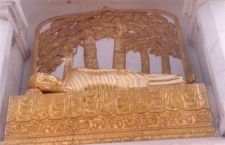 On all four sides of the stupa you have statues of Lord Buddha each in different pose. What you see is a sleeping Buddha
