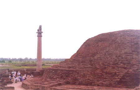 To commemorate the spot where Lord Buddha gave his last sermon Emperor Asoka constructed lion column. What you see to your right is the ruins of a stupa and the lion column in front.