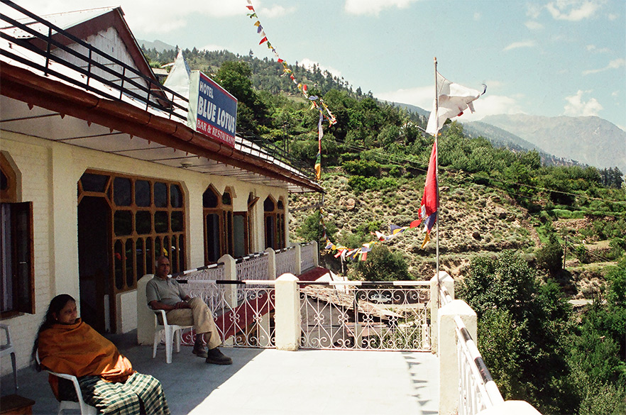 The hotel we stayed in, Blue Lotus, great place - view of the Kinner Kailash Range. It is two minutes from the bus stand.